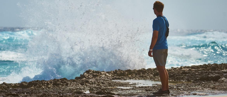 Man makes memories watching waves